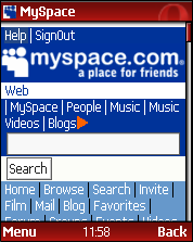 opera mini myspace